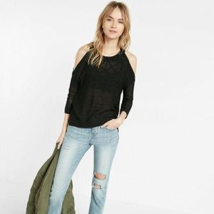 Express Black Open Stitch Cold Shoulder Sweater